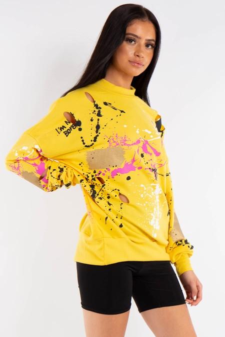 Yellow Graffiti print sweatshirt