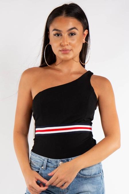 Black One Shoulder Strip Design Bodysuit