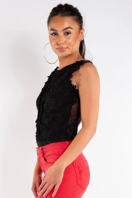 Black Crochet and Mesh Bodysuit