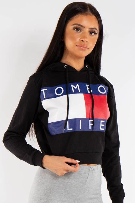 Black Tomboy Slogan Crop Hoddie