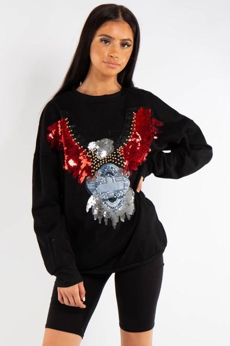 Black Bling Eagle Sweater Jumper