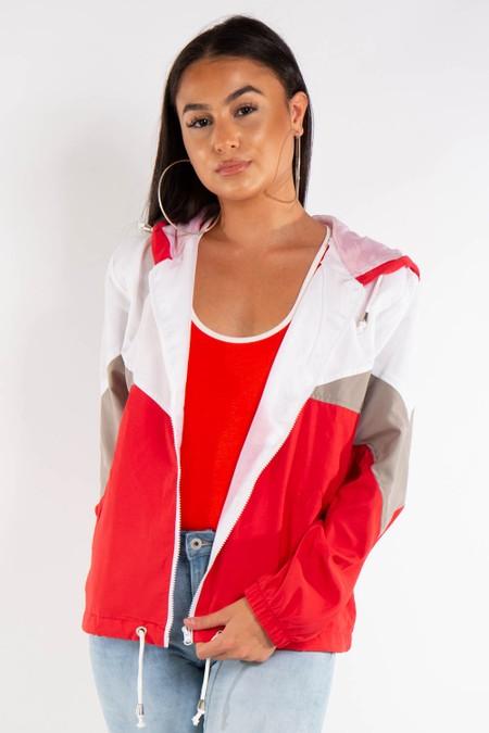 Red Contrast Colour Festival Rain Jacket