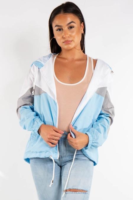 Blue Contrast Colour Festival Rain Jacket