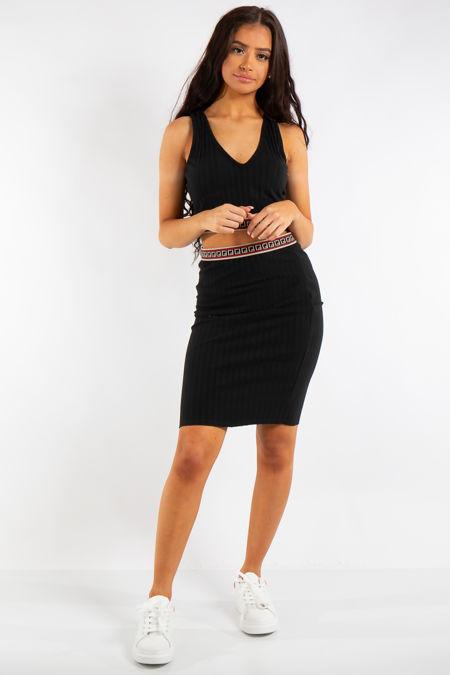 Antonella Black Ribbed Aztec Crop Skirt Co-ord Set