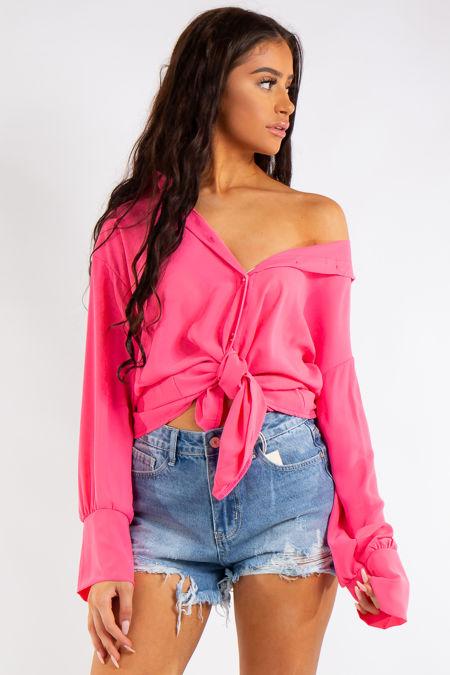 Saige Neon Pink Oversized Shirt