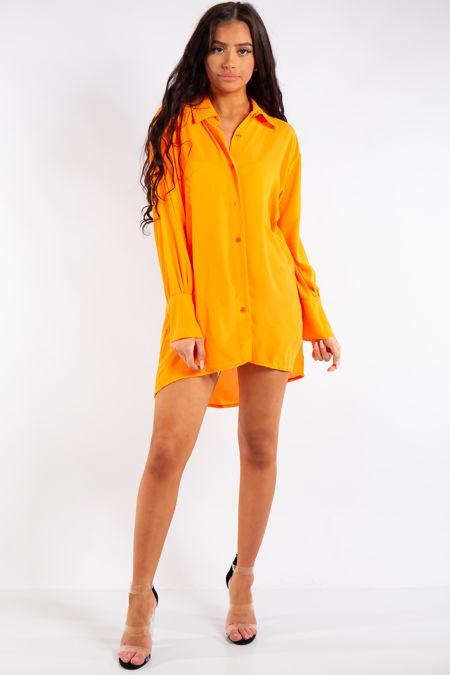 Saige Neon Orange Oversized Shirt