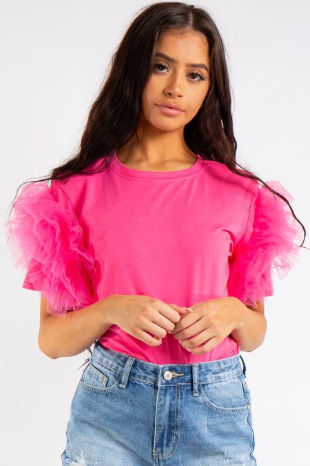 Jaylah Neon Pink Organza Frill T Shirt