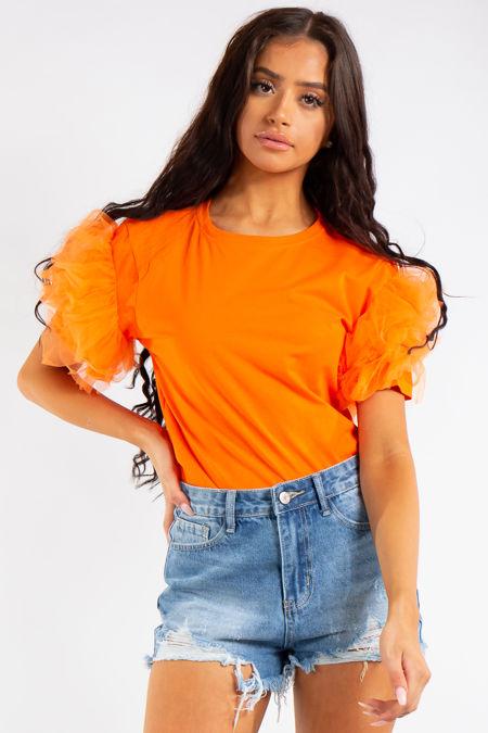 Jaylah Neon Orange Organza Frill T Shirt