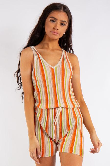 Alia Orange Striped Shimmer Playsuit