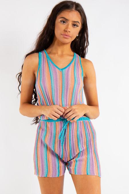 Alia Blue Striped Shimmer Playsuit