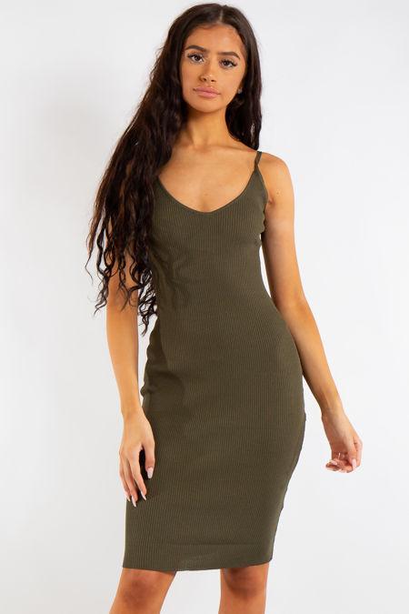 Leyla Khaki Ribbed Midi Dress