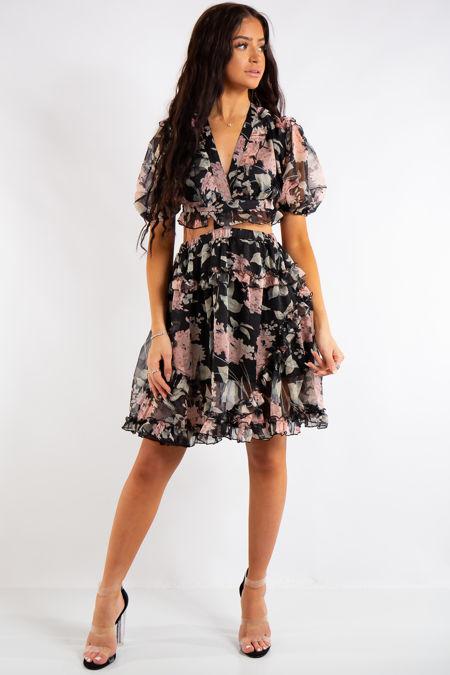 Kailey Black Floral Short Sleeved Frill Dress