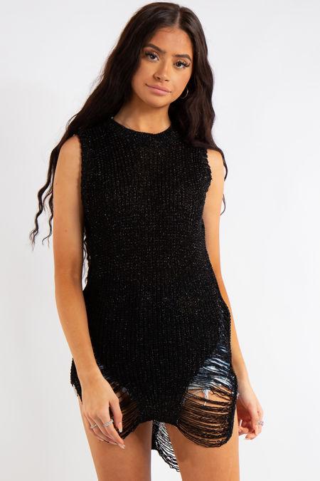 Zahra Black Knit Metallic Long Line Vest Top