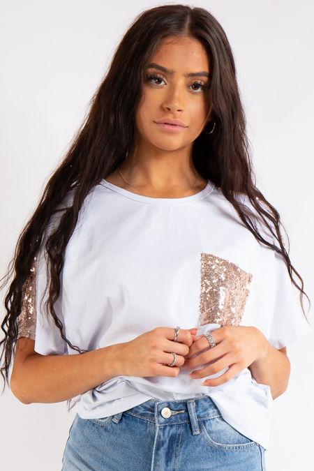 Jayde White Sequin Pocket Oversized T-Shirt