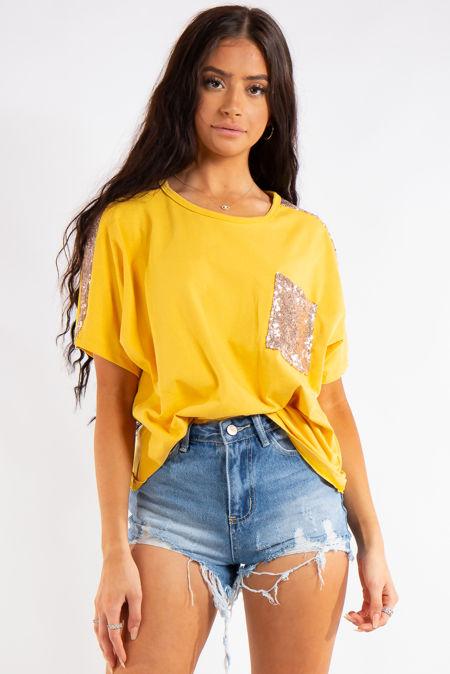 Jayde Yellow Sequin Pocket Oversized T-Shirt