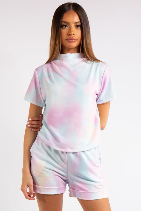Jazlynn Pastel Tie Dye High Neck Short Co-ord Set