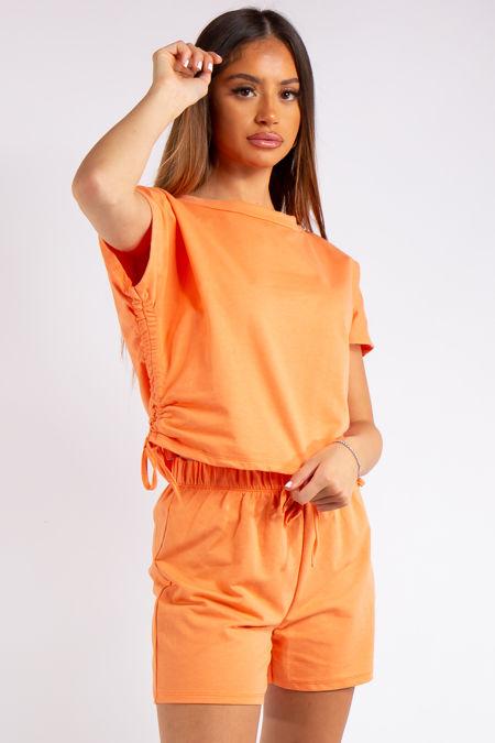 Estrella Orange Rouged Crop Shorts Co-ord Set