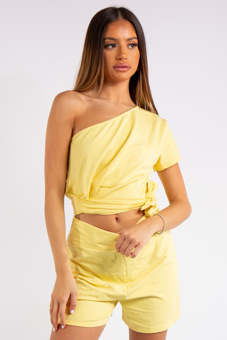 Kaylin Yellow One Shoulder Co ord Set
