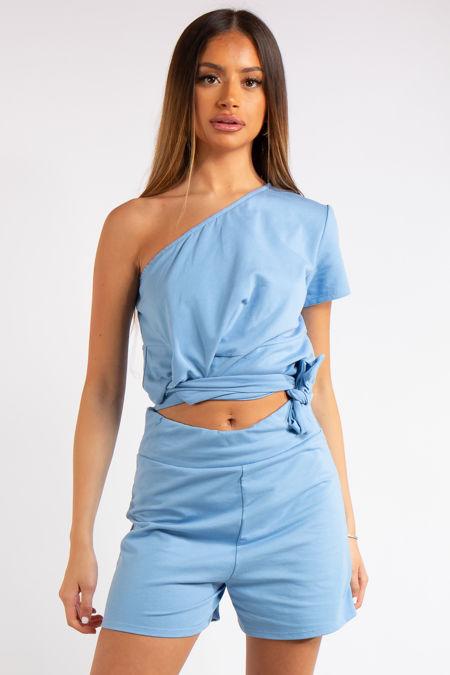 Kaylin Baby Blue One Shoulder Co ord Set