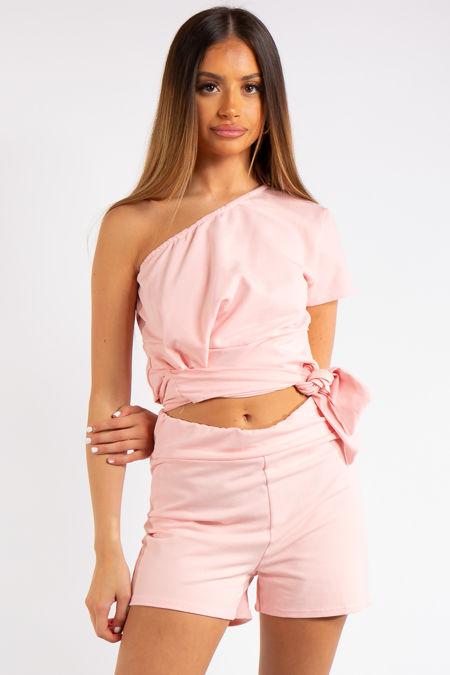Kaylin Pink One Shoulder Co ord Set