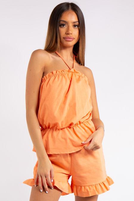 Breanna Orange Halter Neck Shorts Co-ord Set