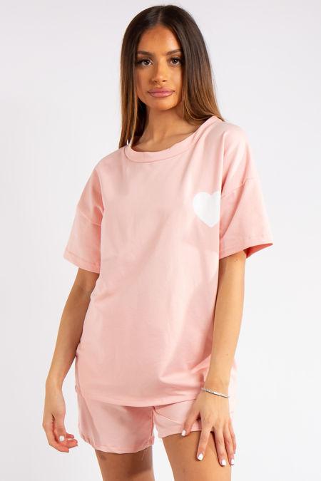 Jayden Pink Heart Oversized T-Shirt & High Waist Shorts Co-ord