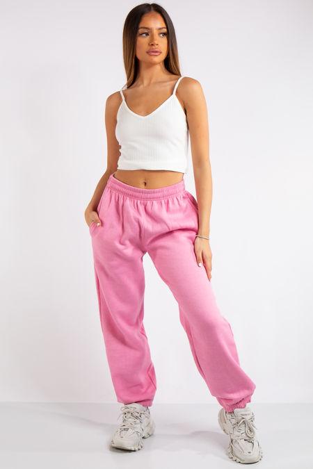 Brylee Pink Basic Elasticated Tie Waist Joggers