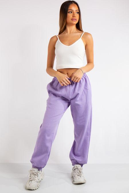 Brylee Purple Basic Elasticated Tie Waist Joggers