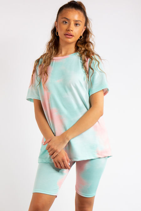 Zainab Pink/Green Tie Dye Oversized T-Shirt & Cycling Shorts Co-ord Set