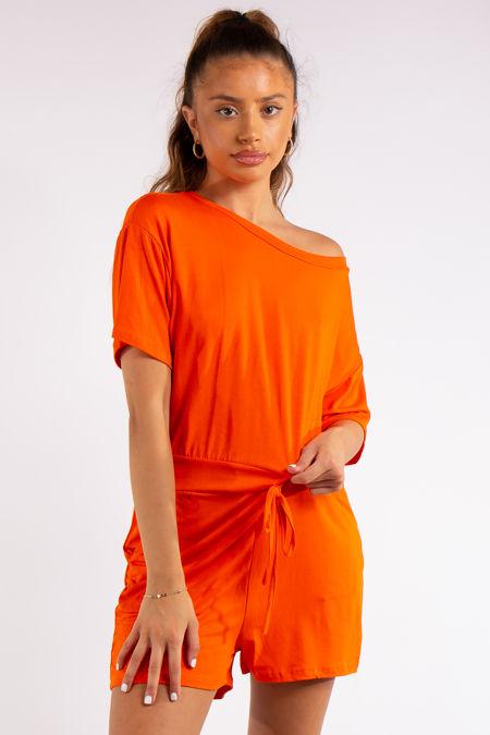 Chana Orange Basic Playsuit