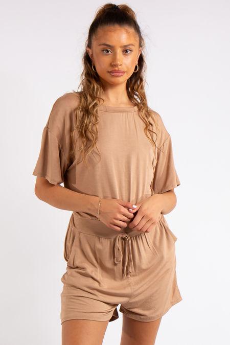 Chana Camel Basic Playsuit
