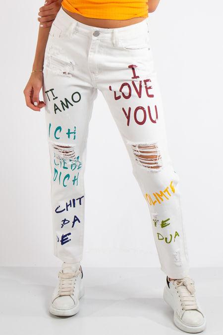 Dils Denim Distressed White Self Love Mom Jeans