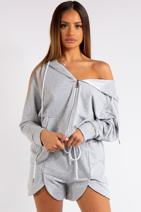 Clare Grey 2-piece Hoodie and Short Co-ord Set