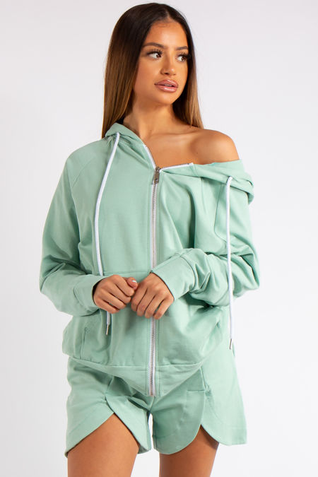 Clare Sage Green 2-piece Hoodie and Short Co-ord Set