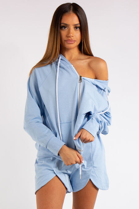 Clare Baby Blue 2-piece Hoodie and Short Co-ord Set