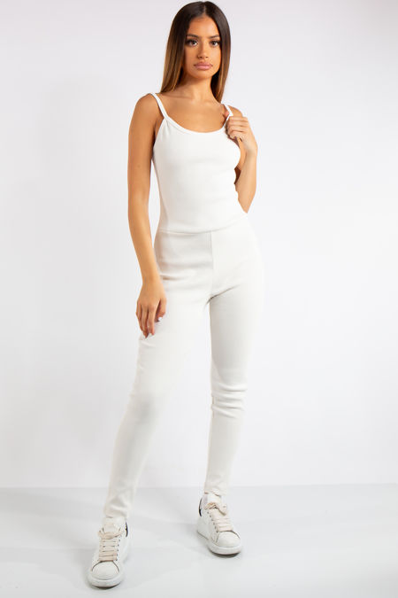 Analia White Ribbed Fitted Jumpsuit