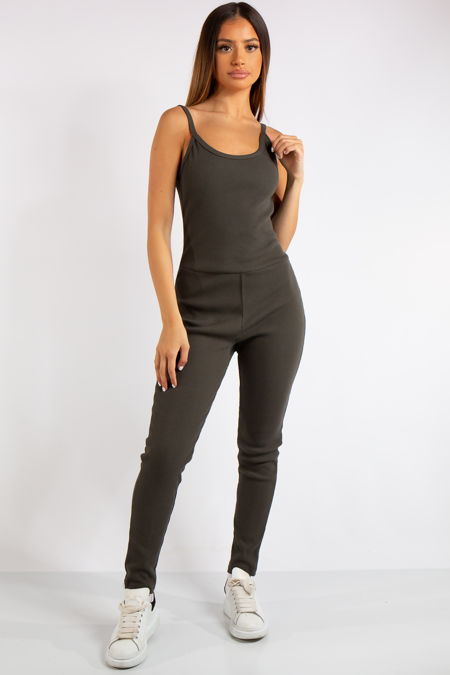 Analia Khaki Ribbed Fitted Jumpsuit