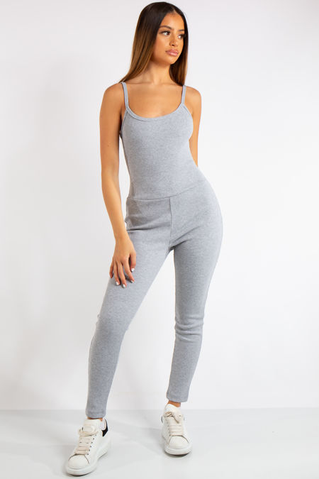 Analia Grey Ribbed Fitted Jumpsuit