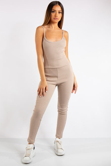 Analia Stone Ribbed Fitted Jumpsuit