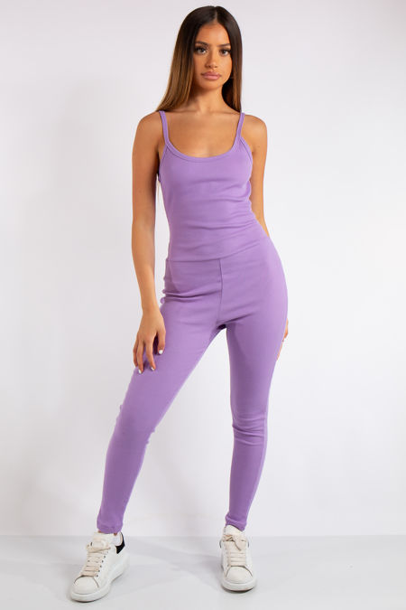 Analia Purple Ribbed Fitted Jumpsuit