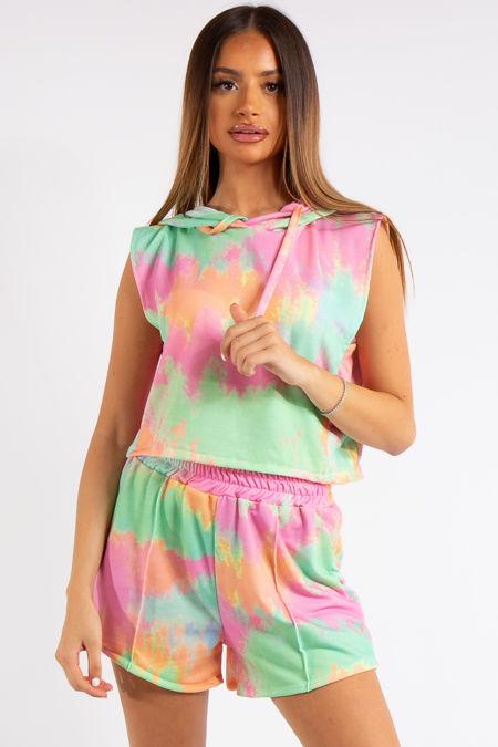 Dana Bright Tie Dye Cropped Sleeveless Hoodie Short Co-ord Set