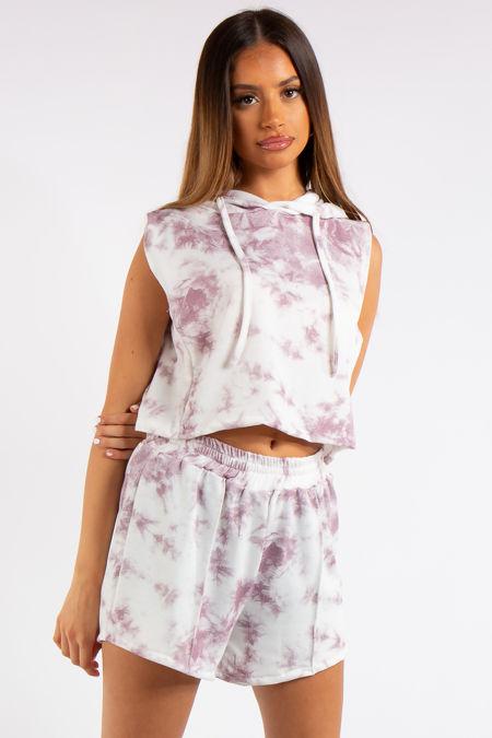 Kiana Pink Marble Tie Dye Cropped Sleeveless Hoodie Short Co-ord Set