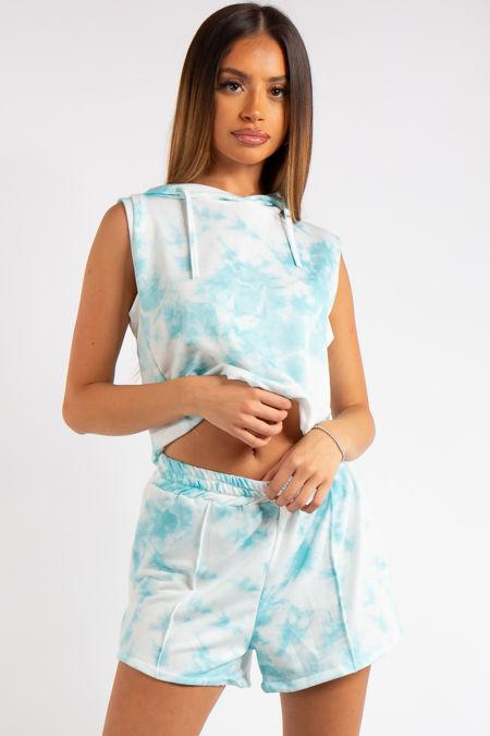 Kiana Blue Marble Tie Dye Cropped Sleeveless Hoodie Short Co-ord Set