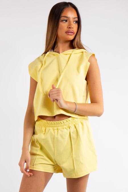 Melania Yellow Sleeveless Hoodie Co-ord Set