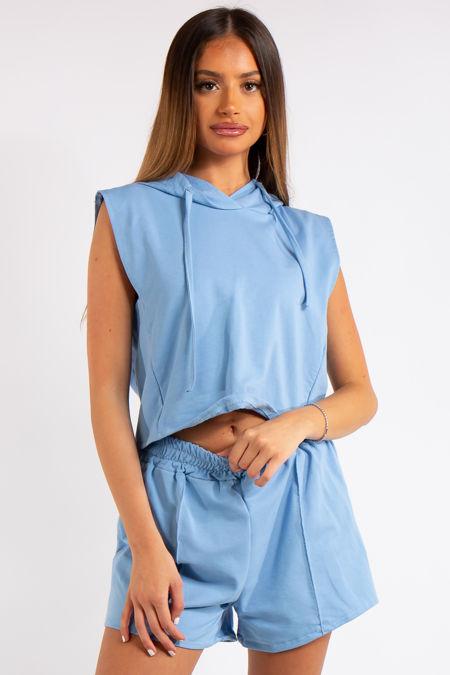 Melania Baby Blue Cropped Sleeveless Hoodie Co-ord Set