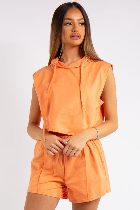 Melania Orange Cropped Sleeveless Hoodie Co-ord Set