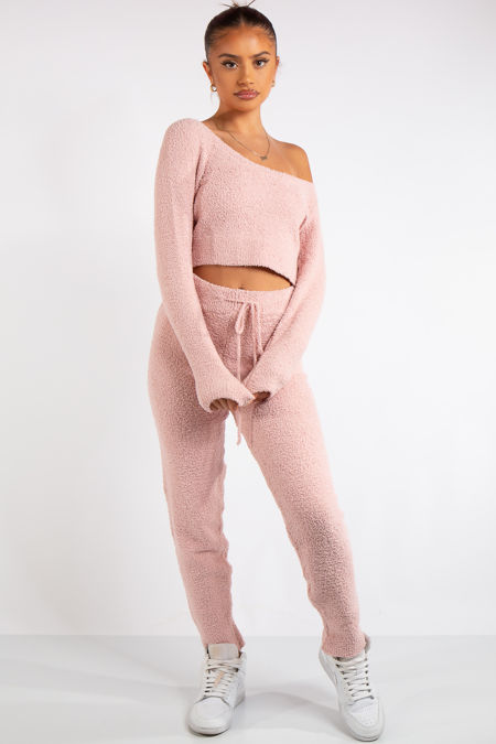 Anabelle Pink Teddy Borg Co-Ord Set