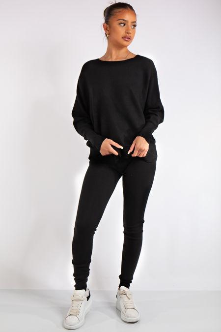 Ensley Black Ribbed Fine Knit Loungewear Co-Ord set