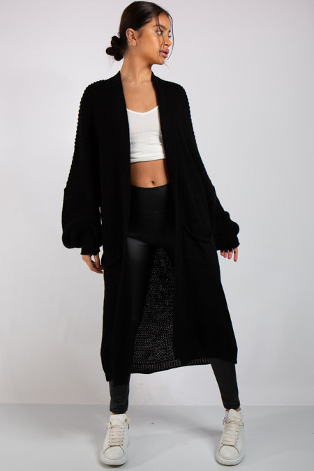 Yara Black Knit Long Cardigan