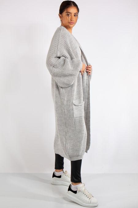 Yara Silver Grey Knit Long Cardigan